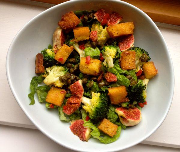 Fig, Polenta and Crispy Caper Salad
