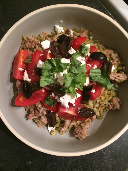 Freekeh with lamb and tomatoes