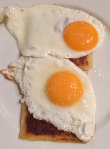 Fried eggs and potato farls